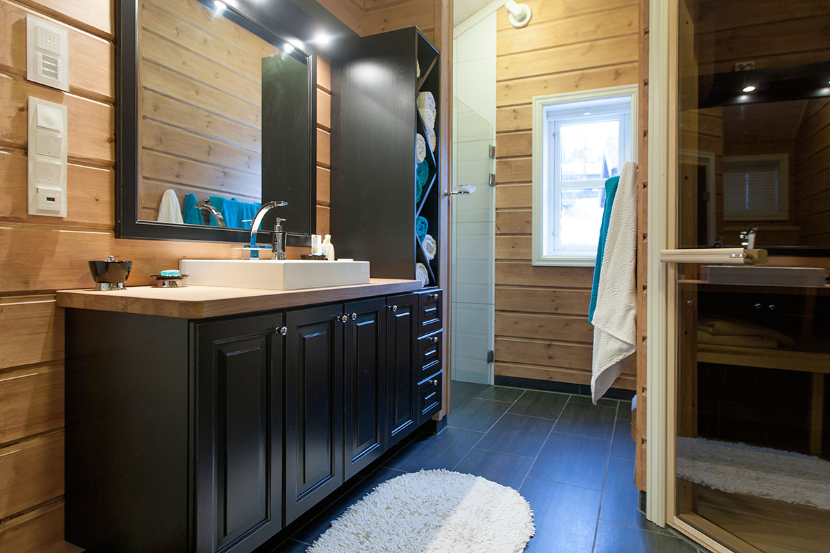 tradisjonell stil på hytten bad